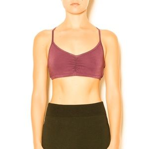 LAmade Twist Back Bralette Size Extra Small Burgundy NWT